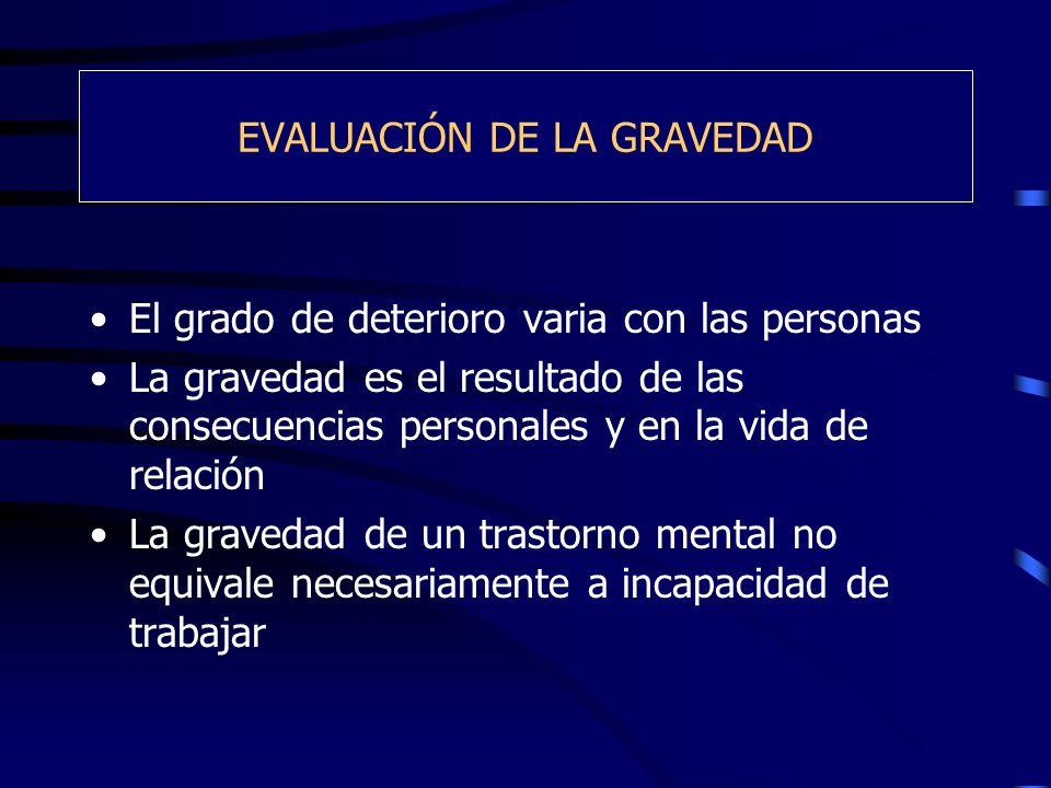 EVALUACIÓN DE LA GRAVEDAD El grado de deterioro varia con las personas La gravedad es el resultado de las consecuencias personales y en la vida de rel
