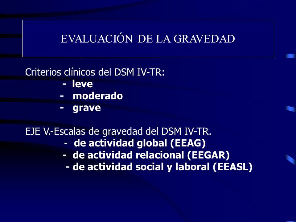 EVALUACIÓN DE LA GRAVEDAD Criterios clínicos del DSM IV-TR: - leve - moderado - grave EJE V.-Escalas de gravedad del DSM IV-TR. - de actividad global