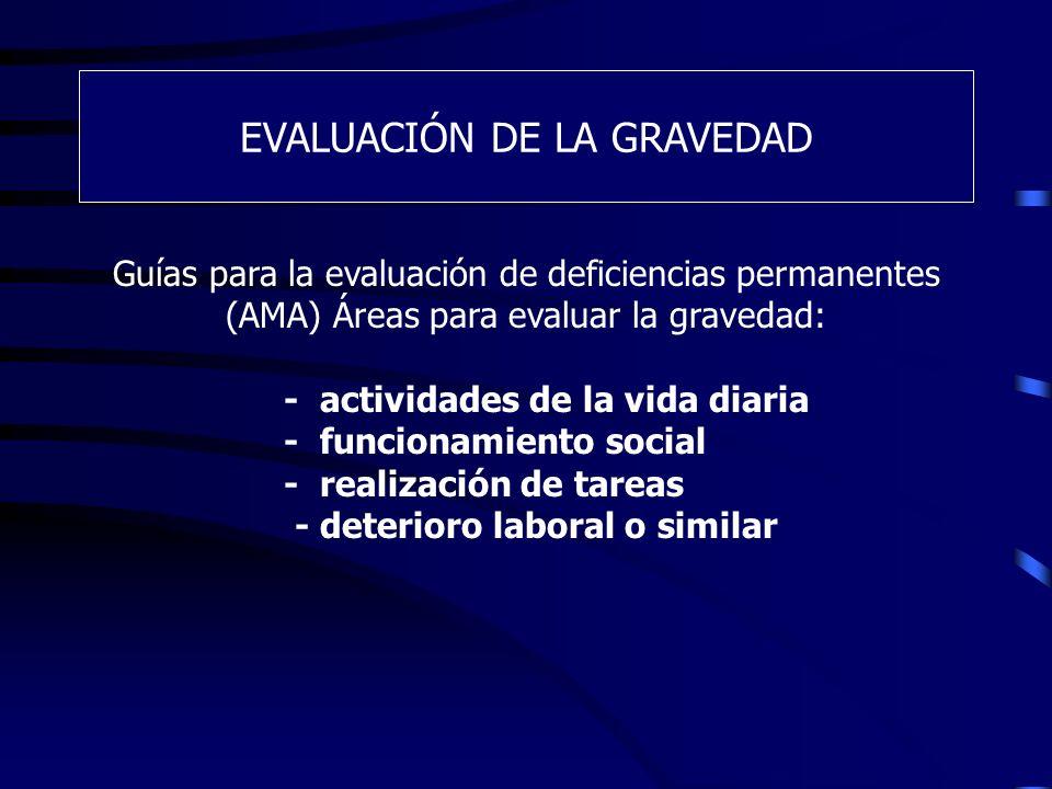 EVALUACIÓN DE LA GRAVEDAD Guías para la evaluación de deficiencias permanentes (AMA) Áreas para evaluar la gravedad: - actividades de la vida diaria -