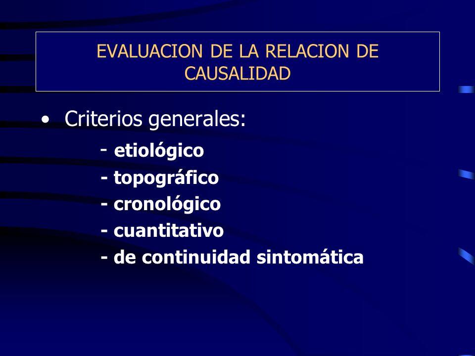 EVALUACION DE LA RELACION DE CAUSALIDAD Criterios generales: - etiológico - topográfico - cronológico - cuantitativo - de continuidad sintomática