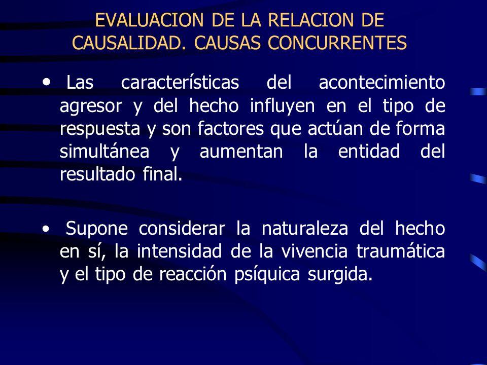 EVALUACION DE LA RELACION DE CAUSALIDAD. CAUSAS CONCURRENTES Las características del acontecimiento agresor y del hecho influyen en el tipo de respues