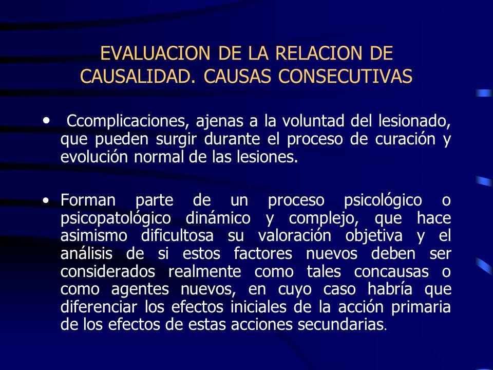EVALUACION DE LA RELACION DE CAUSALIDAD. CAUSAS CONSECUTIVAS Ccomplicaciones, ajenas a la voluntad del lesionado, que pueden surgir durante el proceso
