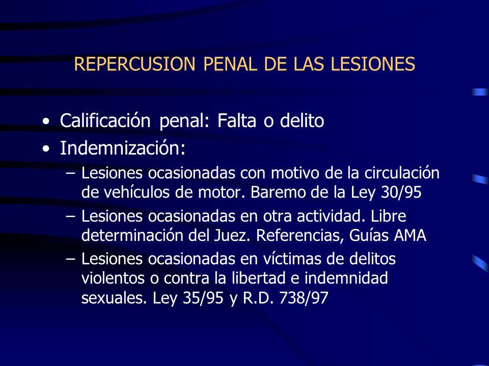 REPERCUSION PENAL DE LAS LESIONES Calificación penal: Falta o delito Indemnización: –Lesiones ocasionadas con motivo de la circulación de vehículos de