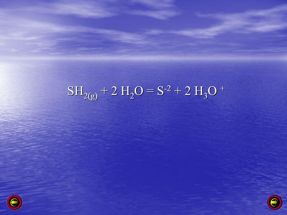 SH 2(g) + 2 H 2 O = S -2 + 2 H 3 O +