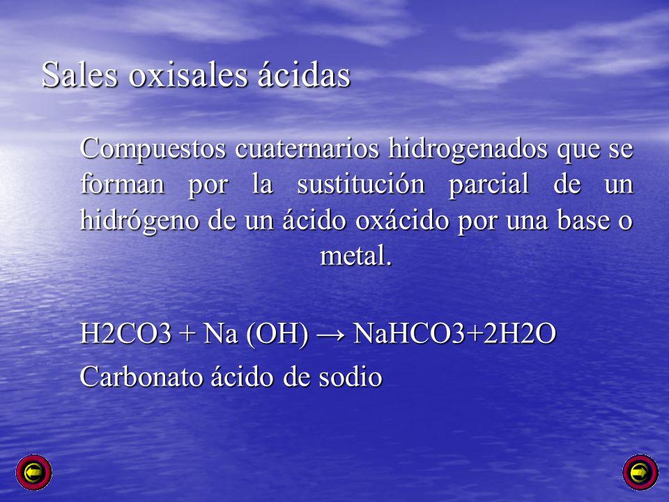Sales oxisales ácidas Compuestos cuaternarios hidrogenados que se forman por la sustitución parcial de un hidrógeno de un ácido oxácido por una base o