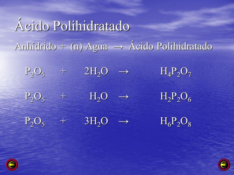 Ácido Polihidratado Anhídrido + (n) Agua Ácido Polihidratado P 2 O 5 + 2H 2 O H 4 P 2 O 7 P 2 O 5 + 2H 2 O H 4 P 2 O 7 P 2 O 5 + H 2 O H 2 P 2 O 6 P 2