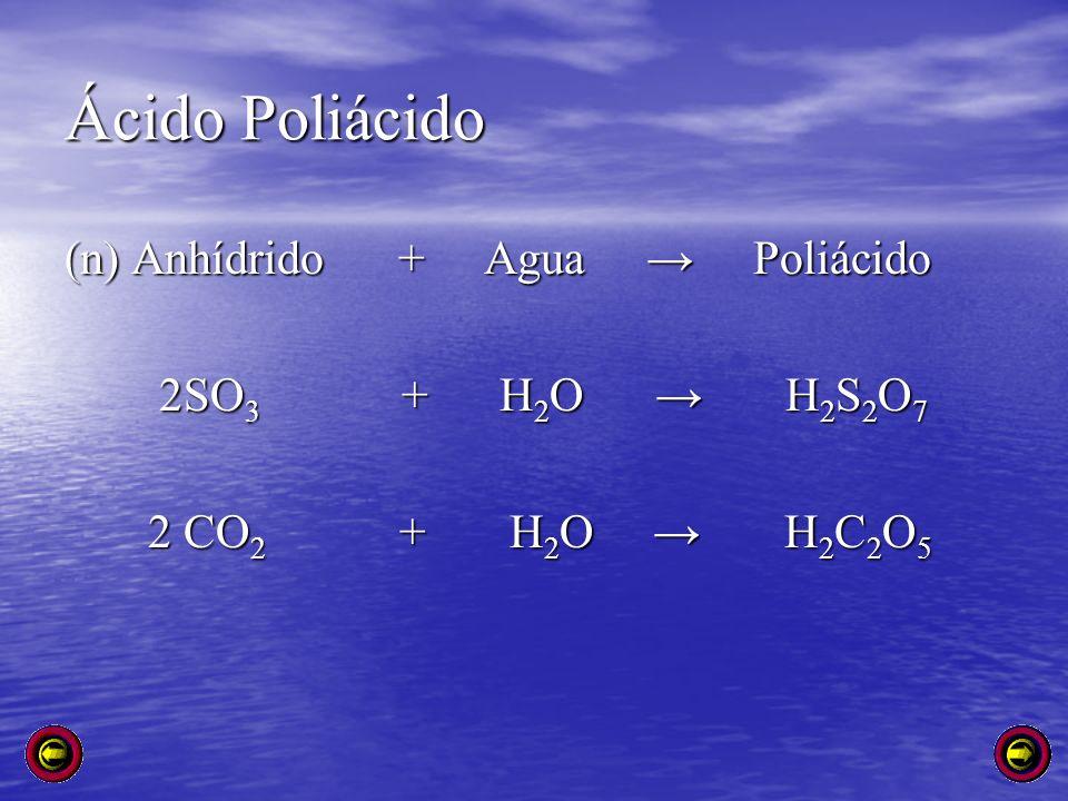 Ácido Poliácido (n) Anhídrido + Agua Poliácido 2SO 3 + H 2 O H 2 S 2 O 7 2SO 3 + H 2 O H 2 S 2 O 7 2 CO 2 + H 2 O H 2 C 2 O 5 2 CO 2 + H 2 O H 2 C 2 O