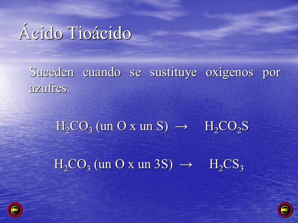 Ácido Tioácido Suceden cuando se sustituye oxígenos por azufres. H 2 CO 3 (un O x un S) H 2 CO 2 S H 2 CO 3 (un O x un S) H 2 CO 2 S H 2 CO 3 (un O x