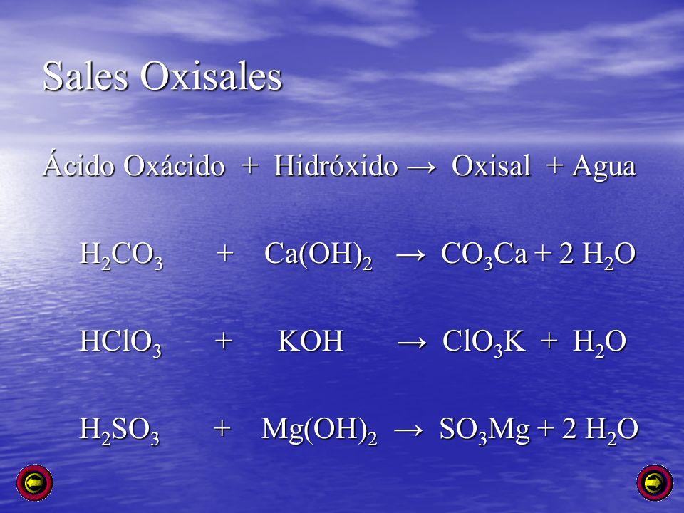 Sales Oxisales Ácido Oxácido + Hidróxido Oxisal + Agua H 2 CO 3 + Ca(OH) 2 CO 3 Ca + 2 H 2 O H 2 CO 3 + Ca(OH) 2 CO 3 Ca + 2 H 2 O HClO 3 + KOH ClO 3