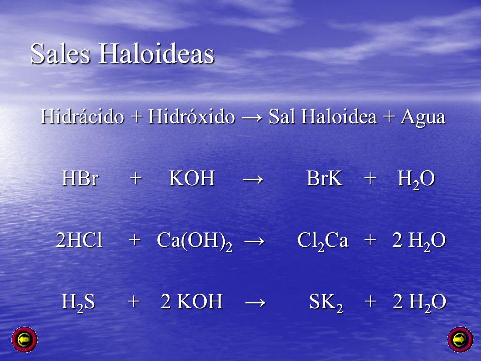Sales Haloideas Hidrácido + Hidróxido Sal Haloidea + Agua Hidrácido + Hidróxido Sal Haloidea + Agua HBr + KOH BrK + H 2 O HBr + KOH BrK + H 2 O 2HCl +
