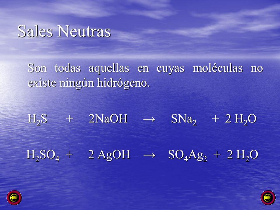 Sales Neutras Son todas aquellas en cuyas moléculas no existe ningún hidrógeno. H 2 S + 2NaOH SNa 2 + 2 H 2 O H 2 SO 4 + 2 AgOH SO 4 Ag 2 + 2 H 2 O H