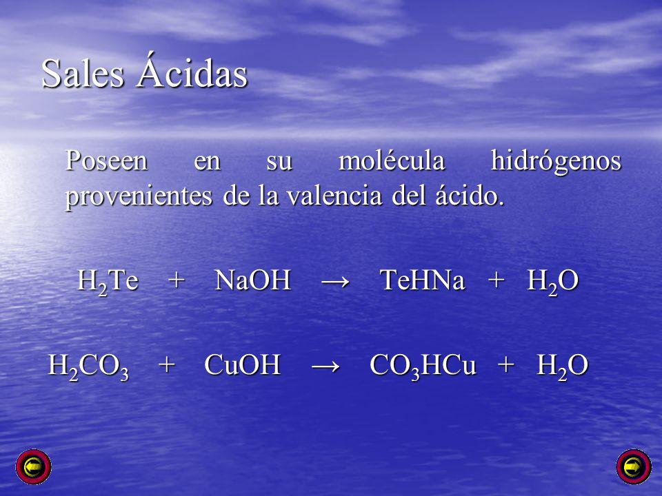 Sales Ácidas Poseen en su molécula hidrógenos provenientes de la valencia del ácido. H 2 Te + NaOH TeHNa + H 2 O H 2 Te + NaOH TeHNa + H 2 O H 2 CO 3