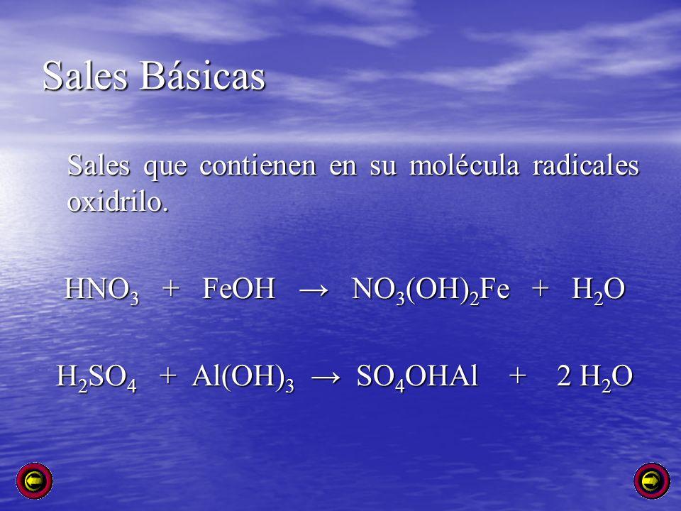 Sales Básicas Sales que contienen en su molécula radicales oxidrilo. HNO 3 + FeOH NO 3 (OH) 2 Fe + H 2 O HNO 3 + FeOH NO 3 (OH) 2 Fe + H 2 O H 2 SO 4