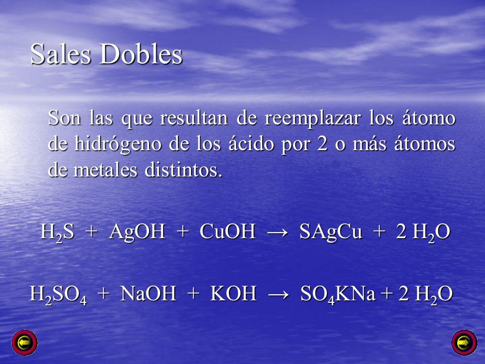 Sales Dobles Son las que resultan de reemplazar los átomo de hidrógeno de los ácido por 2 o más átomos de metales distintos. H 2 S + AgOH + CuOH SAgCu
