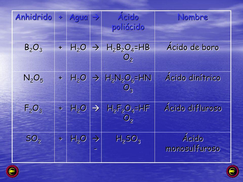 Anhidrido+Agua Ácido poliácido Nombre B2O3B2O3B2O3B2O3+ H2OH2OH2OH2O H 2 B 2 O 4 =HB O 2 Ácido de boro N2O5N2O5N2O5N2O5+ H2OH2OH2OH2O H 2 N 2 O 6 =HN