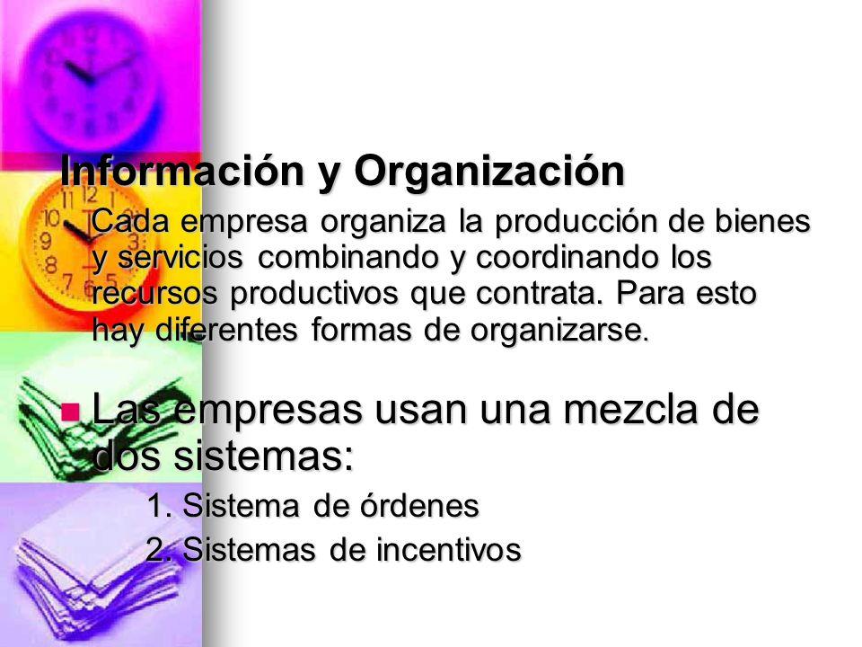 Información y Organización Cada empresa organiza la producción de bienes y servicios combinando y coordinando los recursos productivos que contrata. P