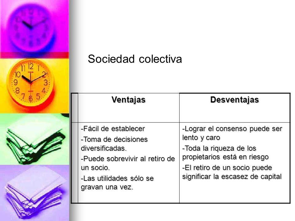VentajasDesventajas -Fácil de establecer -Toma de decisiones diversificadas. -Puede sobrevivir al retiro de un socio. -Las utilidades sólo se gravan u