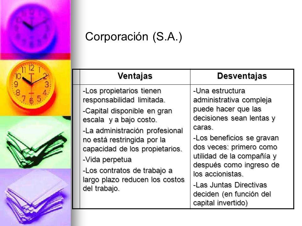 VentajasDesventajas -Los propietarios tienen responsabilidad limitada. -Capital disponible en gran escala y a bajo costo. -La administración profesion