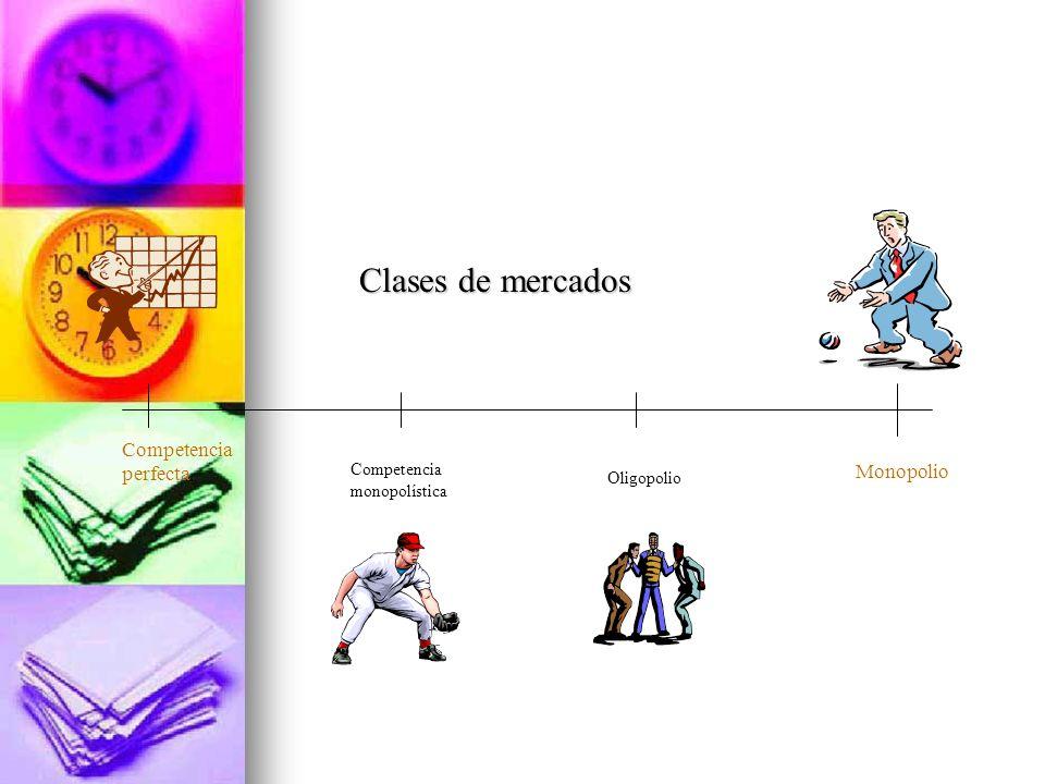 Competencia perfecta Monopolio Competencia monopolística Oligopolio Clases de mercados