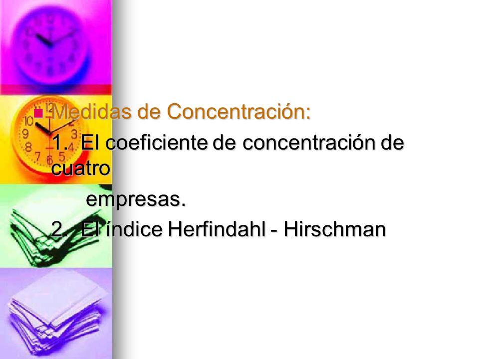 Medidas de Concentración: Medidas de Concentración: 1. El coeficiente de concentración de cuatro empresas. empresas. 2. El índice Herfindahl - Hirschm