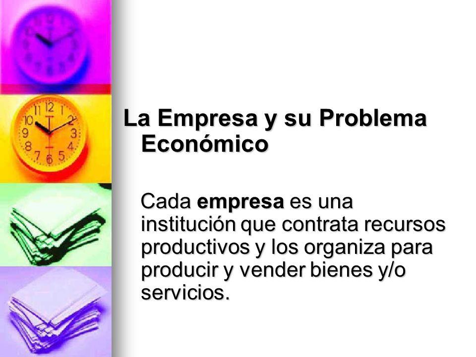 La Empresa y su Problema Económico Cada empresa es una institución que contrata recursos productivos y los organiza para producir y vender bienes y/o
