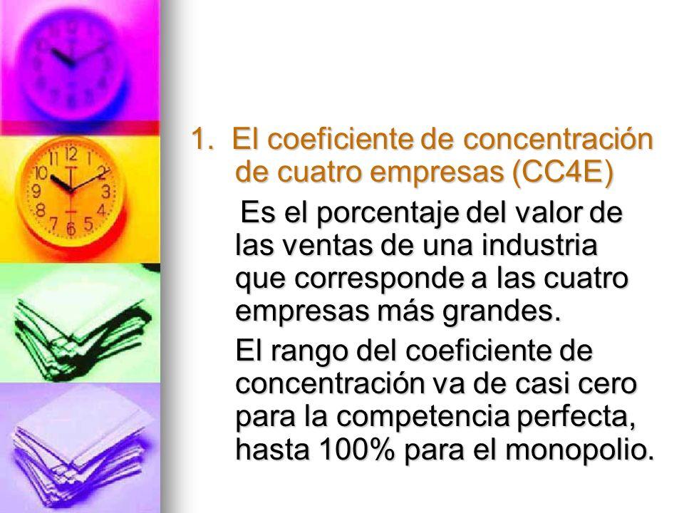 1. El coeficiente de concentración de cuatro empresas (CC4E) Es el porcentaje del valor de las ventas de una industria que corresponde a las cuatro em