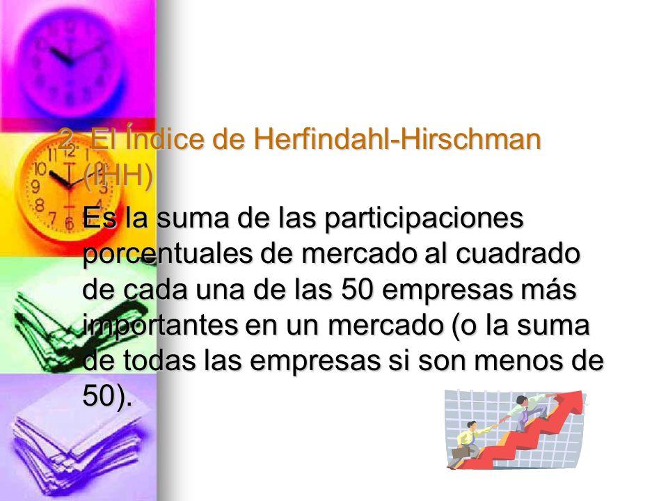 2. El Índice de Herfindahl-Hirschman (IHH) Es la suma de las participaciones porcentuales de mercado al cuadrado de cada una de las 50 empresas más im
