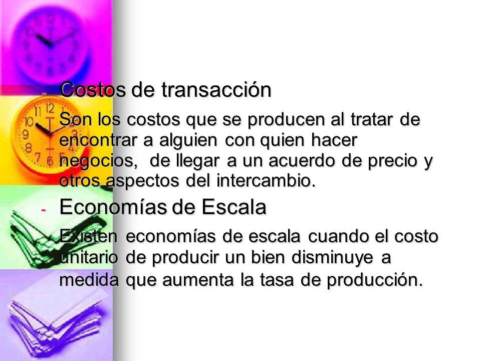 - Costos de transacción Son los costos que se producen al tratar de encontrar a alguien con quien hacer negocios, de llegar a un acuerdo de precio y o