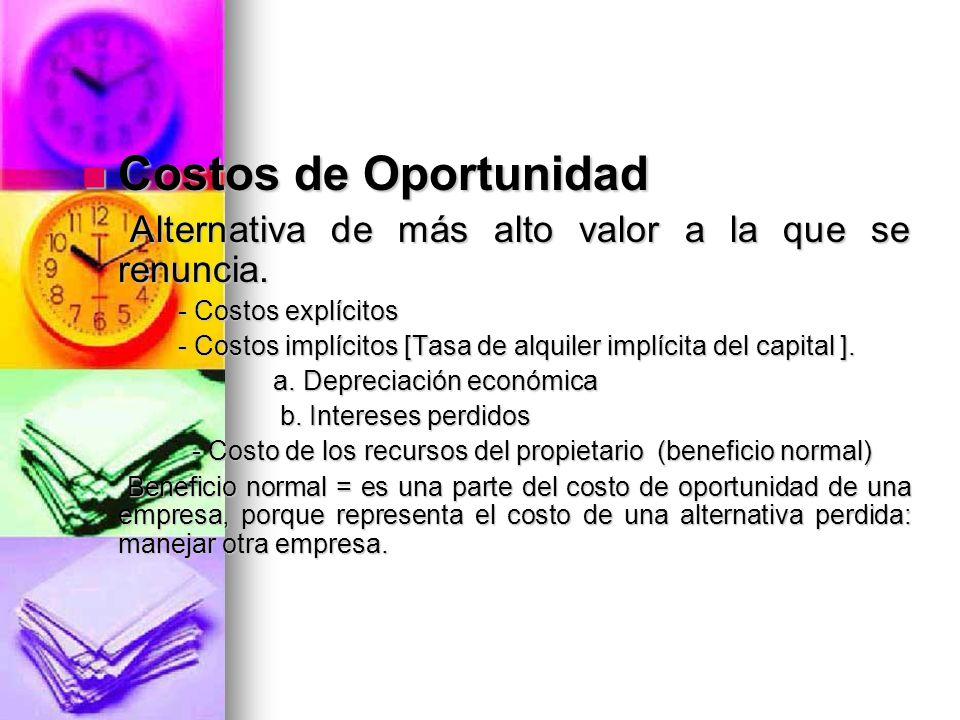 Costos de Oportunidad Costos de Oportunidad Alternativa de más alto valor a la que se renuncia. Alternativa de más alto valor a la que se renuncia. -