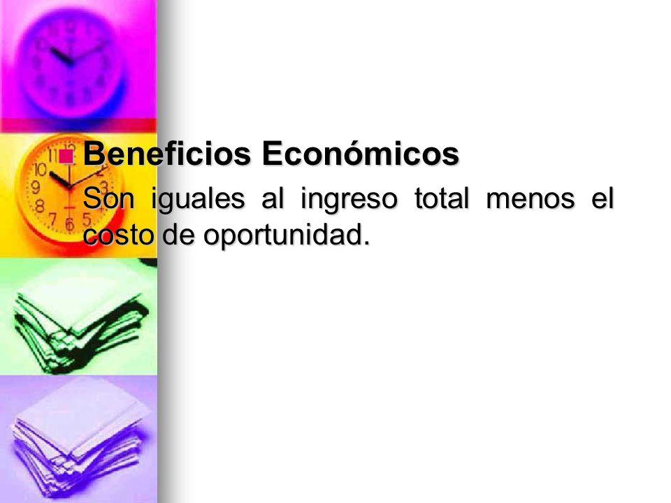 Beneficios Económicos Beneficios Económicos Son iguales al ingreso total menos el costo de oportunidad. Son iguales al ingreso total menos el costo de