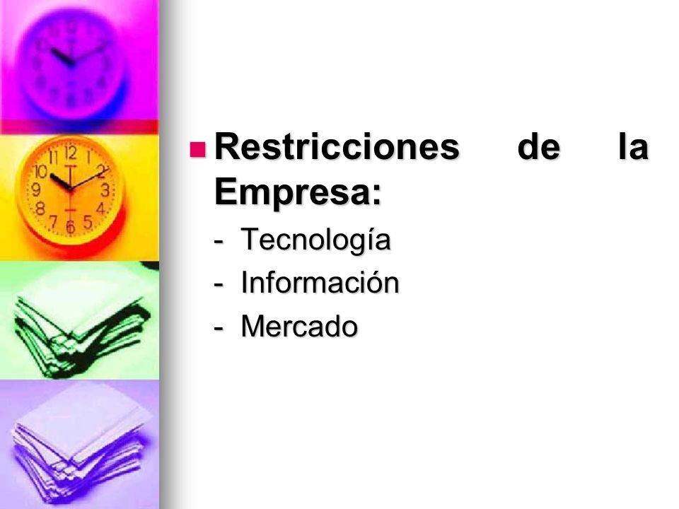 Restricciones de la Empresa: Restricciones de la Empresa: - Tecnología - Información - Mercado