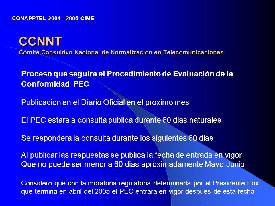 CCNNT Comité Consultivo Nacional de Normalizacion en Telecomunicaciones Proceso que seguira el Procedimiento de Evaluación de la Conformidad PEC CONAP