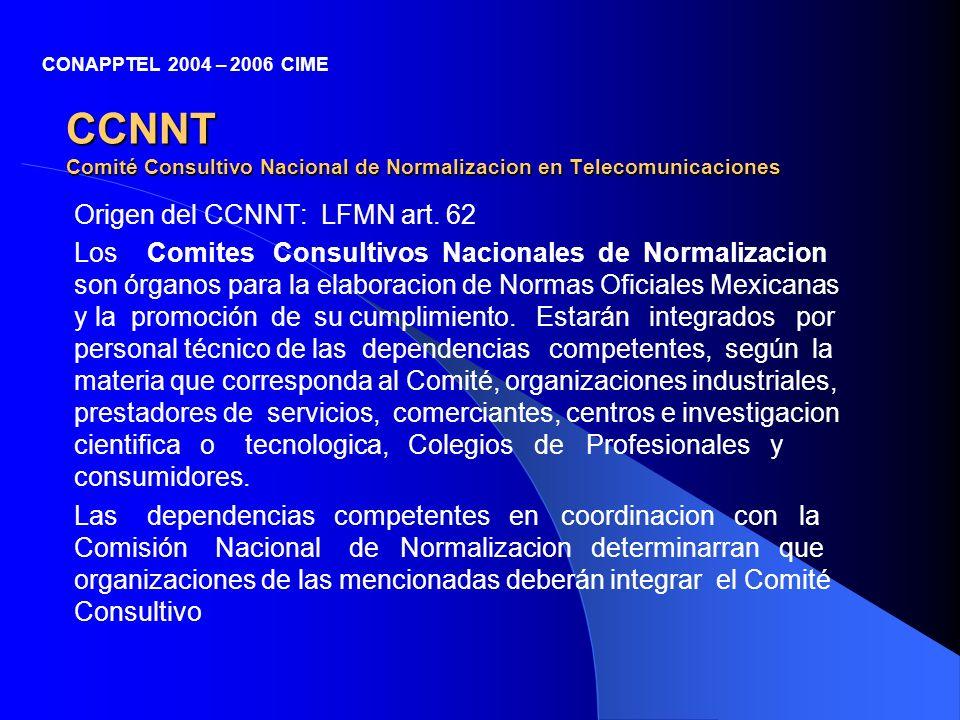CCNNT Comité Consultivo Nacional de Normalizacion en Telecomunicaciones Origen del CCNNT: LFMN art. 62 Los Comites Consultivos Nacionales de Normaliza