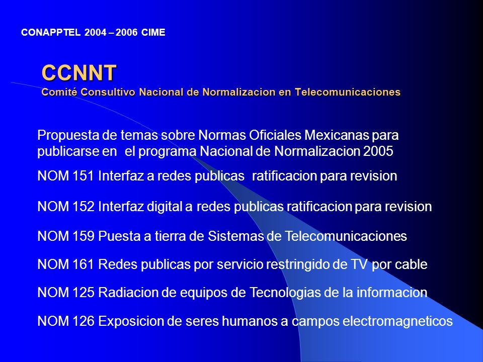 CCNNT Comité Consultivo Nacional de Normalizacion en Telecomunicaciones Propuesta de temas sobre Normas Oficiales Mexicanas para publicarse en el prog