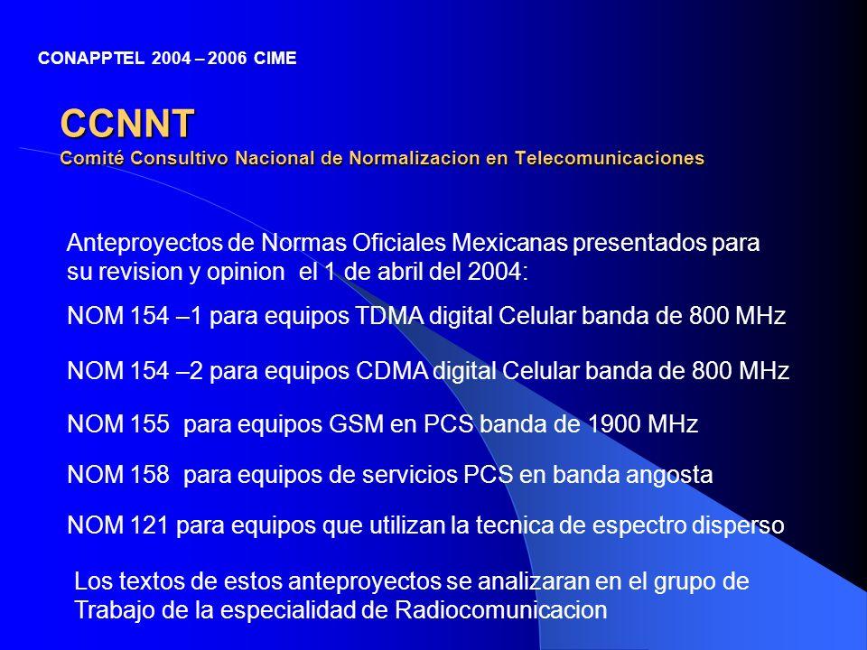CCNNT Comité Consultivo Nacional de Normalizacion en Telecomunicaciones Anteproyectos de Normas Oficiales Mexicanas presentados para su revision y opi