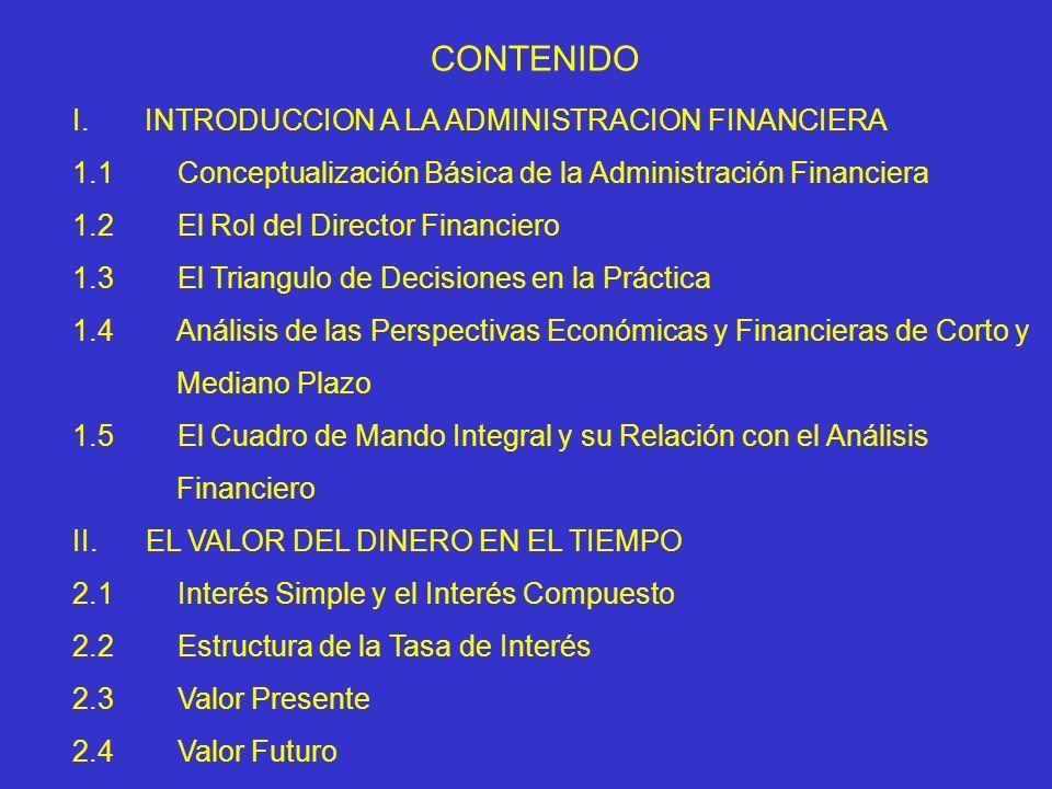 CONTENIDO I.INTRODUCCION A LA ADMINISTRACION FINANCIERA 1.1 Conceptualización Básica de la Administración Financiera 1.2 El Rol del Director Financier