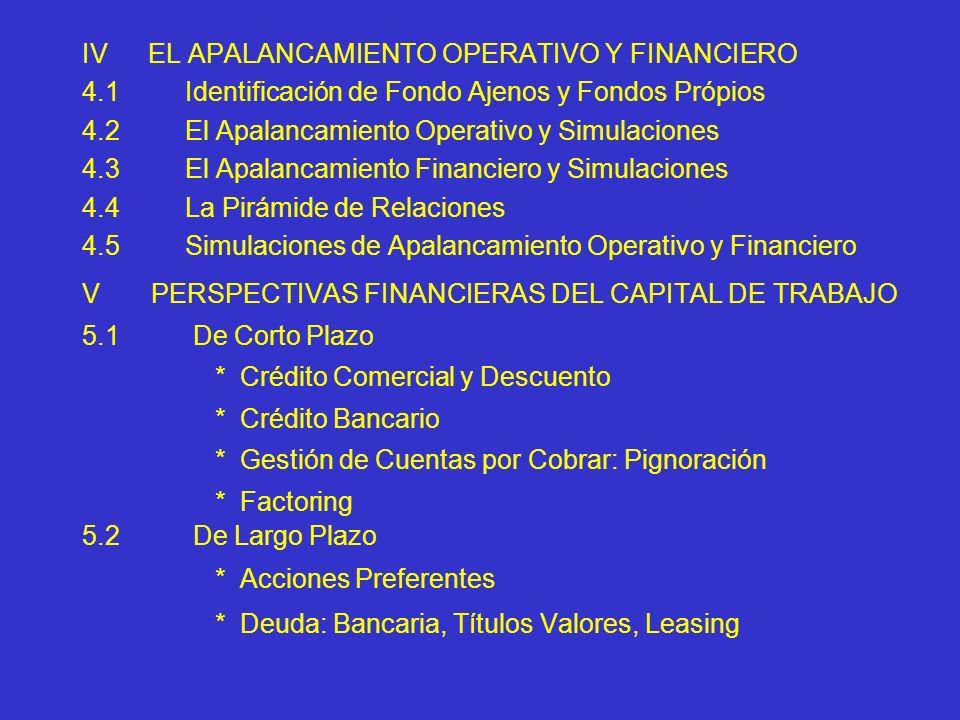 IVEL APALANCAMIENTO OPERATIVO Y FINANCIERO 4.1 Identificación de Fondo Ajenos y Fondos Própios 4.2 El Apalancamiento Operativo y Simulaciones 4.3 El A