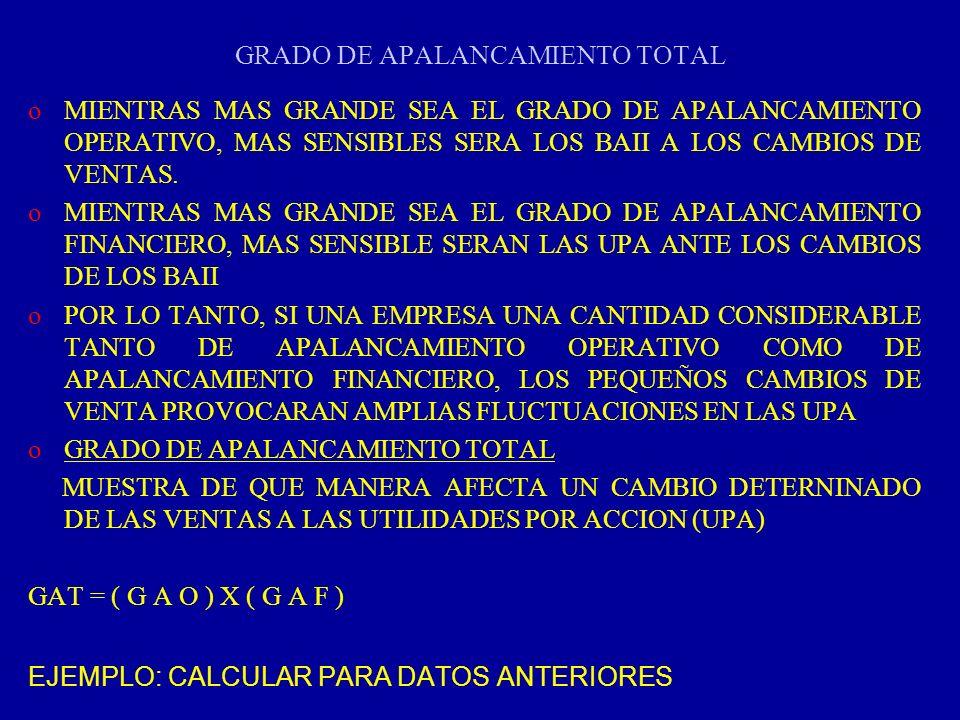 GRADO DE APALANCAMIENTO TOTAL oMIENTRAS MAS GRANDE SEA EL GRADO DE APALANCAMIENTO OPERATIVO, MAS SENSIBLES SERA LOS BAII A LOS CAMBIOS DE VENTAS. oMIE