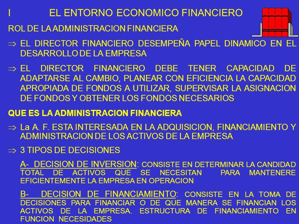 I EL ENTORNO ECONOMICO FINANCIERO ROL DE LA ADMINISTRACION FINANCIERA EL DIRECTOR FINANCIERO DESEMPEÑA PAPEL DINAMICO EN EL DESARROLLO DE LA EMPRESA E