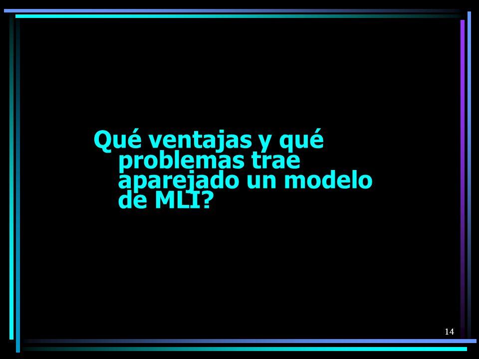 14 Qué ventajas y qué problemas trae aparejado un modelo de MLI?
