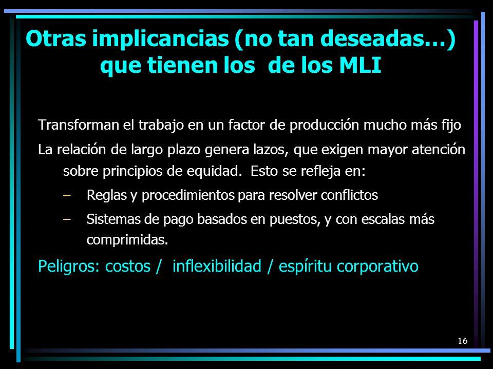 16 Otras implicancias (no tan deseadas…) que tienen los de los MLI Transforman el trabajo en un factor de producción mucho más fijo La relación de largo plazo genera lazos, que exigen mayor atención sobre principios de equidad.