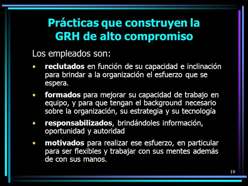 19 Prácticas que construyen la GRH de alto compromiso Los empleados son: reclutados en función de su capacidad e inclinación para brindar a la organización el esfuerzo que se espera.