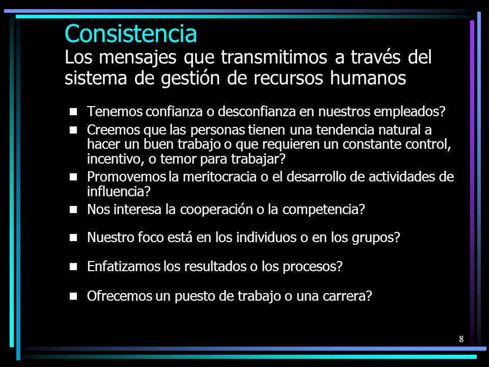 8 Consistencia Los mensajes que transmitimos a través del sistema de gestión de recursos humanos Tenemos confianza o desconfianza en nuestros empleados.