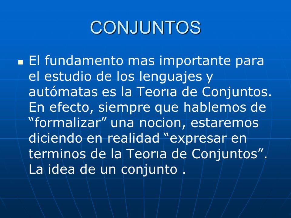 CONJUNTOS El fundamento mas importante para el estudio de los lenguajes y autómatas es la Teorıa de Conjuntos. En efecto, siempre que hablemos de form