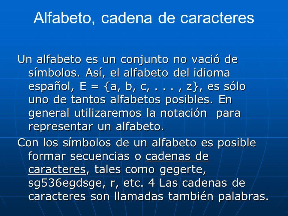 Alfabeto, cadena de caracteres Un alfabeto es un conjunto no vació de símbolos. Así, el alfabeto del idioma español, E = {a, b, c,..., z}, es sólo uno