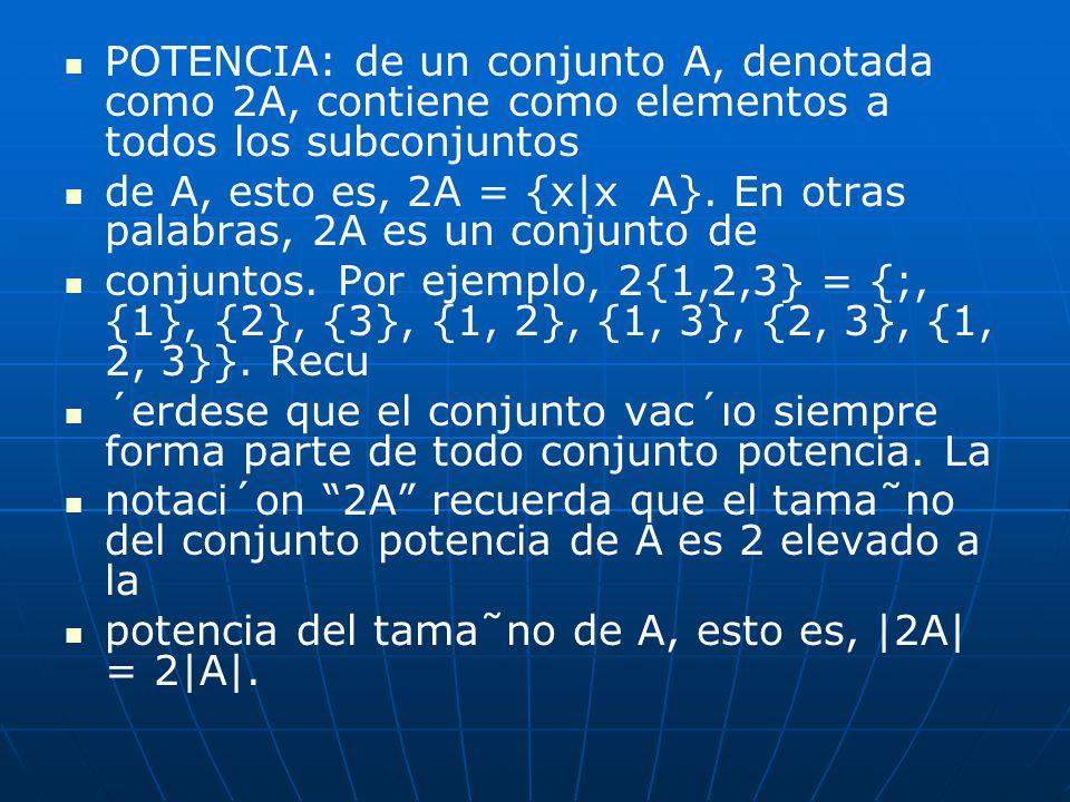 POTENCIA: de un conjunto A, denotada como 2A, contiene como elementos a todos los subconjuntos de A, esto es, 2A = {x|x A}. En otras palabras, 2A es u