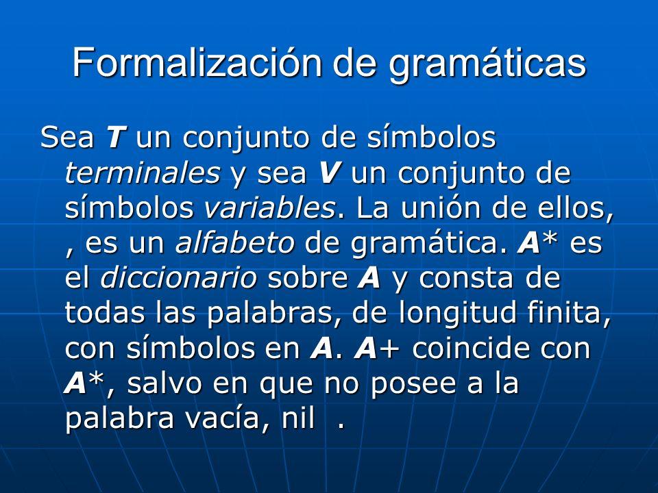 Formalización de gramáticas Sea T un conjunto de símbolos terminales y sea V un conjunto de símbolos variables. La unión de ellos,, es un alfabeto de