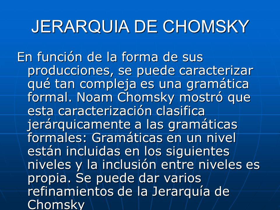 JERARQUIA DE CHOMSKY En función de la forma de sus producciones, se puede caracterizar qué tan compleja es una gramática formal. Noam Chomsky mostró q