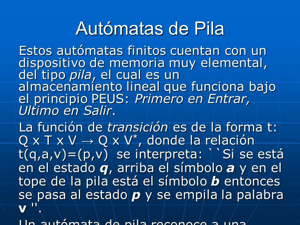 Autómatas de Pila Estos autómatas finitos cuentan con un dispositivo de memoria muy elemental, del tipo pila, el cual es un almacenamiento lineal que