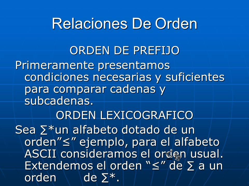 Relaciones De Orden ORDEN DE PREFIJO Primeramente presentamos condiciones necesarias y suficientes para comparar cadenas y subcadenas. ORDEN LEXICOGRA